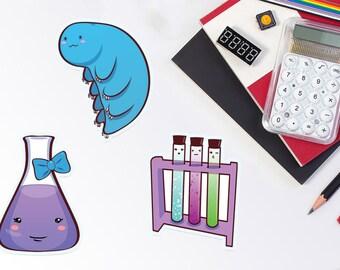 Cute Science Sticker or Magnet - tardigrade, water bear, chemistry flask, test tubes, laptop sticker, art sticker, decal