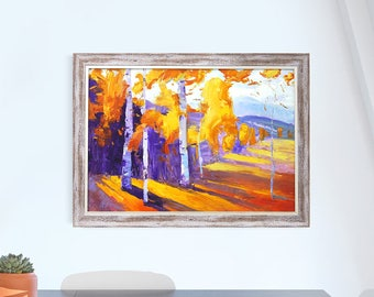 Oil painting art autumn Kiev Ukraine gift small size present Gift for Her Drawing valentine's day 2018