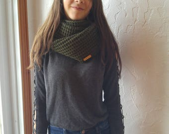 Forest green infinity scarf two laps, * ready to ship *, perfect for the winter scarf knitted by hand