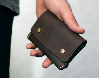 Leather wallet mens wallet purse Brown coins card cards cash handmade vintage