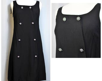 Gay Gibson NOS Mod Little Black Dress with Rhinestone Buttons