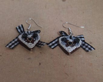 Earrings heart with black checkered bow, Oktoberfest