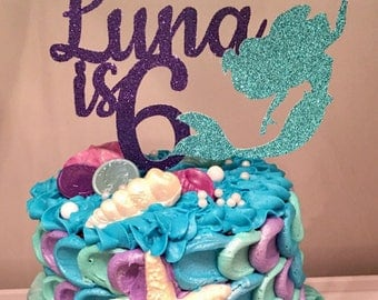 Mermaid Cake Topper, Any Name and Age, Mermaid Birthday Party Decorations