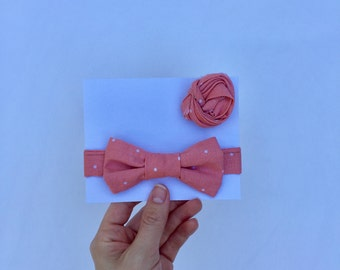 Coral with White Dot Boys Bow Tie/Men's Lapel Knot/Daddy and Me/Matching set/Coral/Polka dots/Father's Day