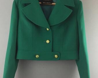 JANCOURT 1950s 1960s vintage short green wool jacket 12/14