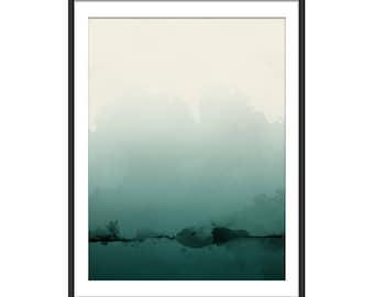 Green Abstract Print. Abstract Art. Green Art. Abstract Painting Solitude Is Bliss Minimal Art Print. Wall Art. Wall Decor.