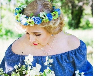 Flower headband Flower hair wreath Boho floral crown Wedding flower crown wreath Bridesmaid crown Bridal floral crown Flower something blue