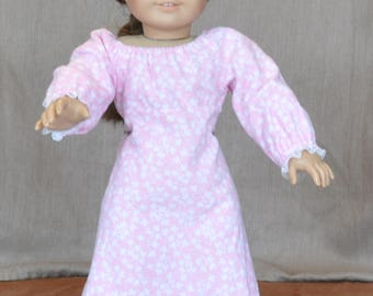 "Cozy flannel nightgown for 18"" dolls including American Girl."
