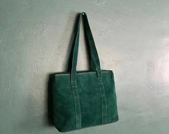 Suede Handbag. Vintage Leather Bag. Statement Bag. Minimalist Handbag. Shoulder Handbag. Blue Suede Handbag. Suede Purse. Medium Handbag