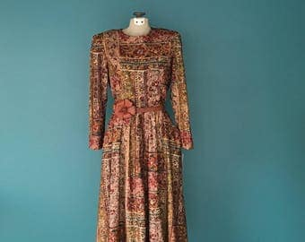 Vintage 80s Dress. Floral Print Dress. Vintage Midi Dress. Floral 80s Dress. Rayon 80s Dress. Floral Midi Dress. Retro 80s Dress