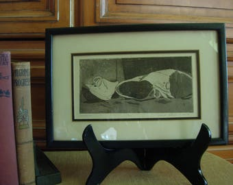 Lithograph Etching Framed Art signed, dated, numbered.