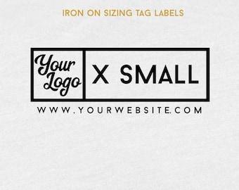 Iron On Sizing Tag Label, Custom Sizing Tag Label,  Sizing Tags, Custom Iron On Labels, Tshirt Tags, Tags For Clothing, Your Logo