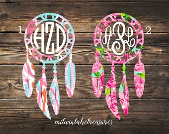 Lilly Pulitzer Dream Catcher Decal / Custom Pattern, Size, Color / Car, Yeti, Wall Sticker / Gift Under 10, Hippie, Boho, Gift Accessories