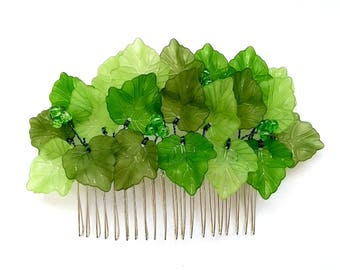 Green leaf hair comb, Leaf hair comb, Poison Ivy Hairpiece