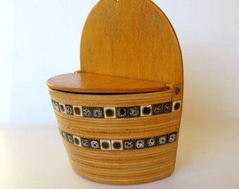 Swedish Wooden Salt Box With Tile Mosaic / 70,s / Salt Box / Wood Salt Box / Wall Hanging / Coupon Storage / Farmhouse Kitchen / Mid Century