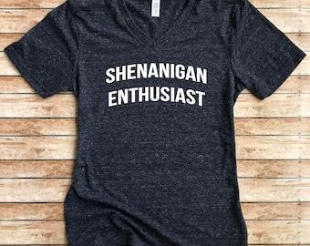 Unisex Tri-Blend V-Neck T-Shirt Shenanigan Enthusiast - Trending T shirt