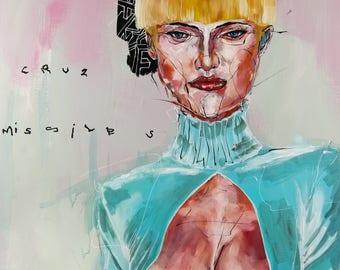 Portrait Print, Woman Print, Art Print, acrylic painting, Abstract Print - Draft