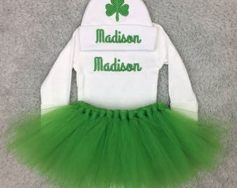 Personalized newborn outfit, custom preemie outfit, baby girl tutu outfit - St Patrick's Day, gift set NICU outfit, Irish baby, st patty's