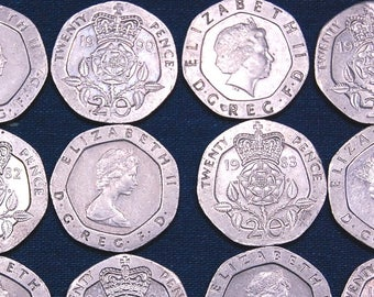 40 Great Britain 20 Pence Coins - 21 mm Width