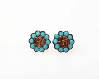 Sterling Silver Pave Radiance Stud Earrings, Swarovsky Crystals, 7mm Flower, Turquoise and Smokey Topaz Color, Unique Korean Style