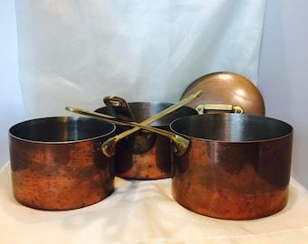 3 Piece Copper Sauce Pans