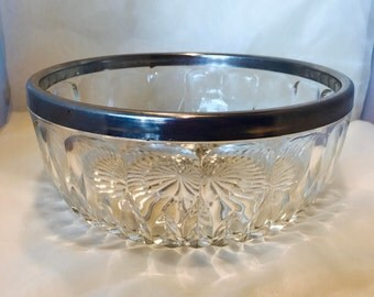 Vintage Lead Crystal Bowl with Silver Plated Rim