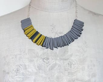 Modern Deco Grey and Yellow Necklace   Polymer Clay Beads Sterling Silver   Contemporary Colourful Jewellery   Statement Necklace