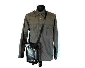 A Bulgarian Officer's Bag, Leather Bag, Military Bag, Army Officer Bag,  Bulgarian Soldier Bag, Vintage Bag, Black Leather Bag