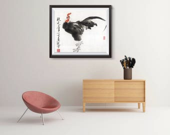 Year of the Rooster, Chinese zodiac print, personalized gift, birthday gift, Asian art, Art Poster, poster wall art, Asian Decor,Home Decor