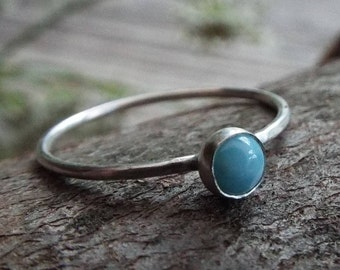 Silver stacking ring, US 7, sterling silver ring, Larimar ring, silver ring, silver 935 ring, hammered stacking rings, boho ring, silver