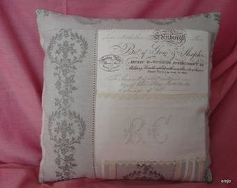 Embroidered cushion, old linen with Monogram R C and Medici ticking