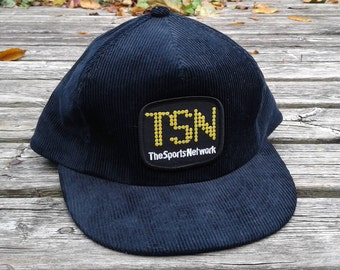 "Vintage 80's Deadstock TSN ""The Sports Network"" Black Corduroy Baseball Trucker Snapback Cap"