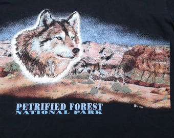 Vintage 1992 Petrified Forest National Park, Arizona / Big Wolf Head / Mountain Range / Rainbow Forest / t-shirt XL