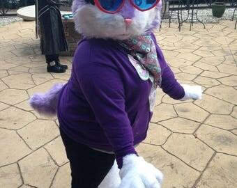 Chibi purple cat fursuit head