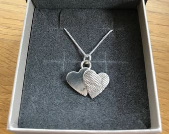 Handmade Silver Double Hearts Necklace
