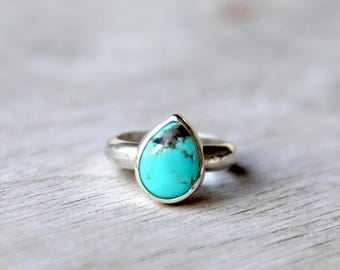 Teardrop Turquoise Sterling Silver Stacker Ring, Simple Turquoise Ring, Size 6 Ring, Teardrop Gemstone Ring, Simple Sterling Silver Ring