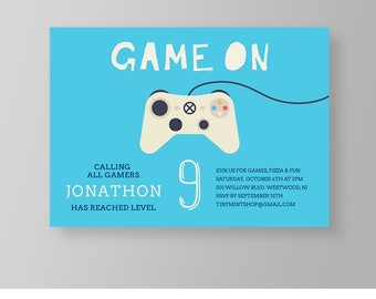 Video Game Party Invitation, Gamer Birthday Invite, Gaming, Arcade, Boy, Printable, Editable Template, INSTANT DOWNLOAD, Templett #049BBD