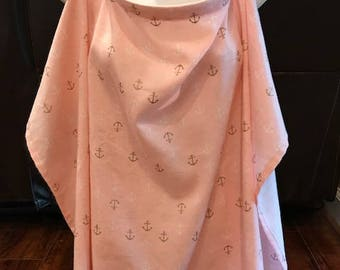 Pink Anchor Nursing Cover