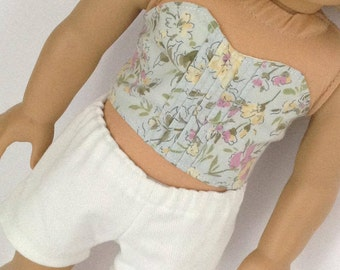 060 - Bustier Pin-Tucked Crop Top, Olive Floral, Halter Top, Fits 18 inch dolls like American Girl