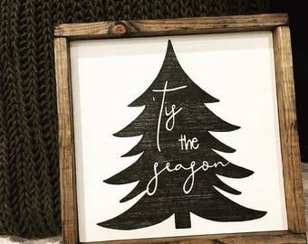 Wooden sign- Christmas sign, 'Tis the Season, Christmas tree