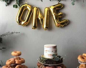 One Letter Balloons - First Birthday Balloons - One Banner - 1 Balloon - Gold Rose Gold Silver - First Birthday Decor