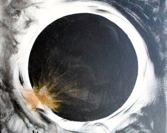 """Solar Eclipse Painting Black and White and Gold calligraphy red chop name 12x12"""" original painting eclipse art black moon darkness movement"""