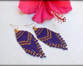 Fringe Earrings,Purple Fringe Earrings,Beaded Fringe,Long Fringe Earrings,Purple Earrings,Statement,Gift for her,Nickel Free,Boho Earrings