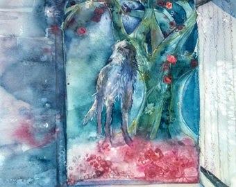 Delamore Hound original watercolour painting by Shari Hills