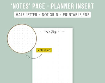 Printable Planner Insert for NOTES, note taking. On a Leuchtturm1917 look-alike dot grid. Half letter size. Part of a 2017 planner.