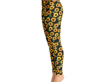 Sunflower Leggings | Yoga Leggings | Festival Leggings | High Waisted Leggings | Floral Leggings | Yogi Pants | Yogawear | Loopy Jayne