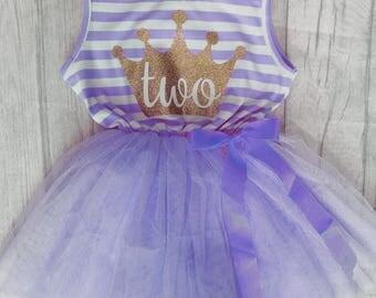 2nd Birthday Purple Striped tutu Dress with deatchable purple bow, little girls dress, princess, birthday girl, gold glitter crown