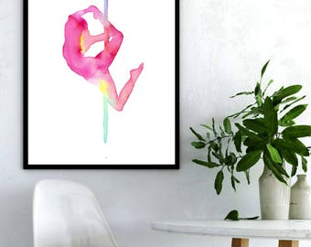 """Download and print the new Pole Dance poster """"Pole dance Sunrise"""". Watercolor printable art. Size: 11.69x16.53 inches. High resolution. Jpeg"""