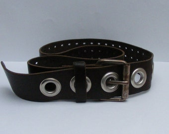 Vintage Leather Belt in brown / XDYE belt / Made in Portugal