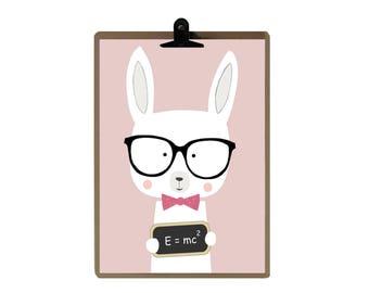 Rabbit nursery print -  Pink Nursery art prints - baby nursery decor - nursery wall - Children Art - Kids Room